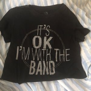 Tops - Cropped Top Band Shirt